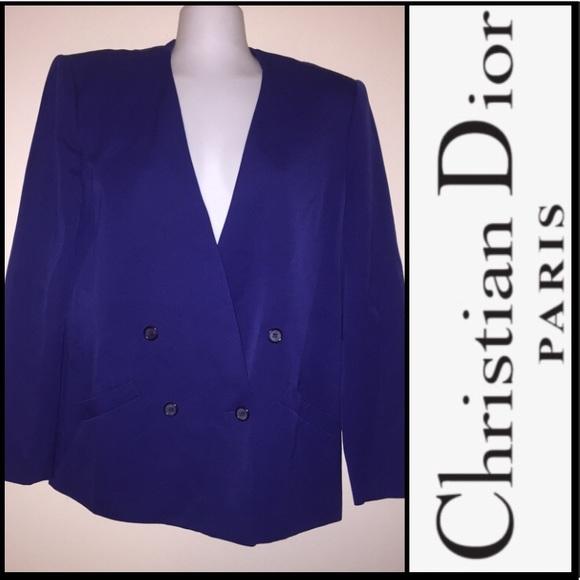 Christian Dior Vintage Royal Blue Blazer Size 12